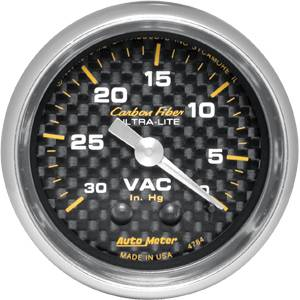 "2-1/16"" Gauges - Auto Meter Carbon Fiber Series - Autometer - Auto Meter Carbon Fiber Series, Vacuum 30"" HG (Mechanical)"