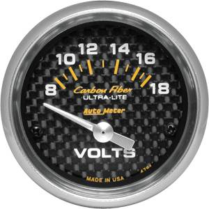 "2-1/16"" Gauges - Auto Meter Carbon Fiber Series - Autometer - Auto Meter Carbon Fiber Series, Voltmeter 8-18 Volts, (Short Sweep Electric)"