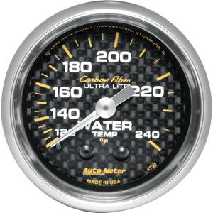 "2-1/16"" Gauges - Auto Meter Carbon Fiber Series - Autometer - Auto Meter Carbon Fiber Series, Water Temperature 120 - 240 deg. F, (Mechanical)"