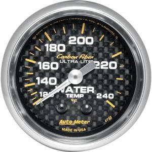"2-1/16"" Gauges - Auto Meter Carbon Fiber Series - Autometer - Auto Meter Carbon Fiber Series, Water Temperature 120 - 240 deg. F, (Mechanical)"
