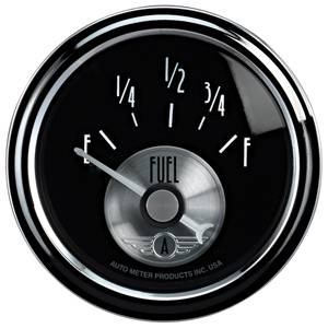 "2-1/16"" Gauges - Auto Meter Prestige Black Diamond Series - Autometer - Auto Meter Prestige Series, Black Diamond, Fuel Level GM 0Ωs Empty / 90Ωs Full (Short Sweep Electric)"
