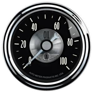 "2-1/16"" Gauges - Auto Meter Prestige Black Diamond Series - Autometer - Auto Meter Prestige Series, Black Diamond, Oil Pressure 0-100psi (Mechanical)"