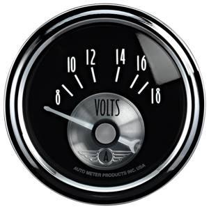 "2-1/16"" Gauges - Auto Meter Prestige Black Diamond Series - Autometer - Auto Meter Prestige Series, Black Diamond, Voltmeter 8-18 Volts (Short Sweep Electric)"