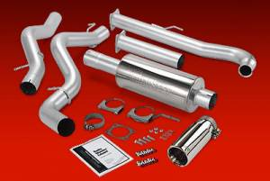 "Exhaust - 4"" Turbo/Down-Pipe Back Single Exit Exhaust - Banks Power - Banks Monster 4"" Down-Pipe Back Single Exit Exhaust, Chevy/GMC (2001-04) 6.6L Duramax CC/EC LB, Aluminized off road"