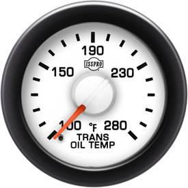 "2-1/16"" Gauges - Isspro EV2 White/Red - Isspro - Isspro EV2 Series White Face/Red Pointer/Green Lighting, Transmission Temp Gauge (100-280*)"