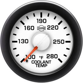 "2-1/16"" Gauges - Isspro EV2 White/Red - Isspro - Isspro EV2 Series White Face/Red Pointer/Green Lighting, Coolant Temp Gauge (100-280*)"
