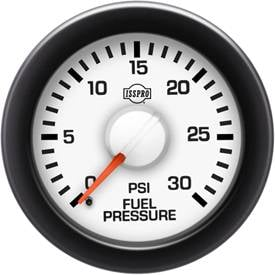"2-1/16"" Gauges - Isspro EV2 White/Red - Isspro - Isspro EV2 Series White Face/Red Pointer/Green Lighting, Fuel Pressure (0-30psi)"